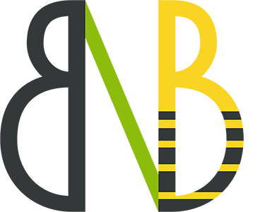 NutriB2 logo. It represents biodiversity and bee health (two B letters having half-of-a-bee shape) symbolically connected by nutrition (green N; only partially visible).