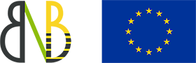 NutriB2 logo and the European Union flag. The logo represents biodiversity and bee health (two B letters having half-of-a-bee shape) symbolically connected by nutrition (green N; only partially visible). The European flag symbolises both the European Union and, more broadly, the identity and unity of Europe. It features a circle of 12 gold stars on a blue background. They stand for the ideals of unity, solidarity and harmony among the peoples of Europe.